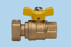 Valvola sfera gas per collegamento art.9374 dritta 1'x3/4