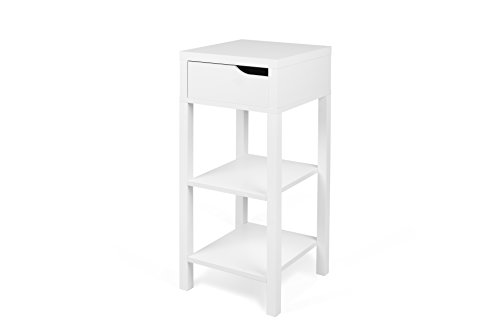 TemaHome Basics Haute Table de Chevet Table de Nuit, 34 x 34 x 80 cm, laqué Blanc Mat