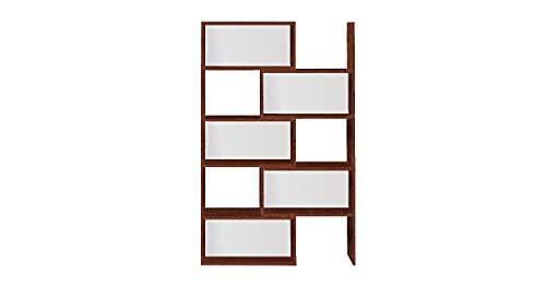 Homemania - Biblioteca Antares - Extensible con estantes, para salón, Dormitorio, Oficina, Nogal, Color Blanco de Madera, 190 x 29 x 160 cm, Panel de melamina