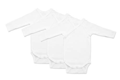 Tom&Jenny Langarm-Body Gr. 62 Weiß 3er Box Unisex Wickelbody aus 100% Bio Baumwolle GOTS Zertifiziert Baby Strampler