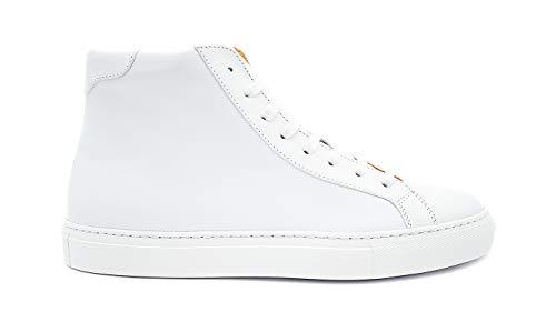"Sneekr italienische Premium Sneaker ""Milano High"" inkl. Schuhanzieher - Weiße Herren Schuhe aus Echtleder - Atmungsaktive Leder Herrenschuhe - Hohe Lederschuhe - Made in Italy - Weiß - 46"