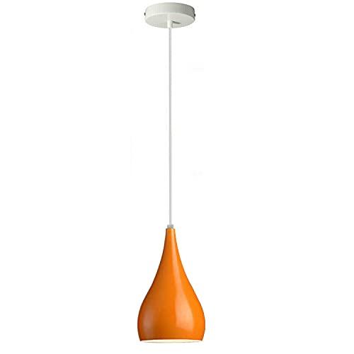 Plafonnier moderne industriel en forme de goutte d'eau, orange, design globes oculaires, abat-jour moderne E27 Royaume-Uni (orange)