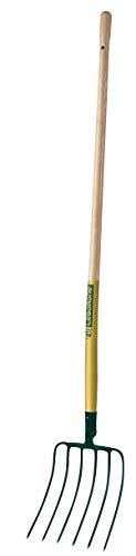 Leborgne Fourche à maïs 6 dents, Largeur: 27 cm, Manche bois 130 cm, Acier forgé et trempé