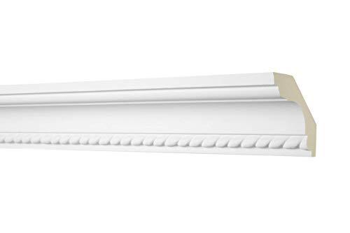 2 Meter Zierprofil 60x60mm - Stuckleiste aus PU gemustert, weiß, stoßfest - AA005 Hexim Perfect - Eckleiste Dekorleiste Stuckprofil Zierleiste