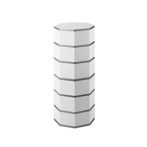 Scarpiera Ruotabile a 360 °, Scarpiera Moderna con Porta,Moderne unità Organizer Alte per Tacchi Alti, Stivali, Vestiti, Giocattoli (Bianco + Argento)(Size:86cm)