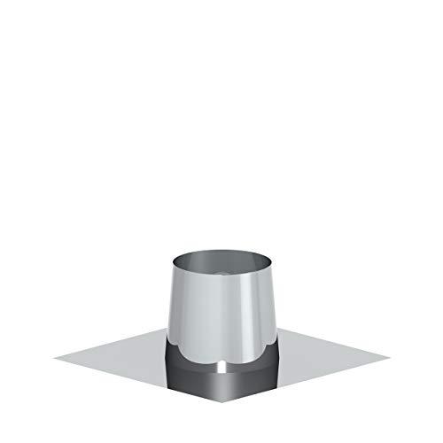 Edelstahlschornstein Schornstein Einzelteil Zubehör Dachdurchführung Flachdach mit Edelstahlflansch 0-5° Dachschräge für Außendurchmesser 190-200mm Ø150mm Innendurchmesser 25mm Isolierung