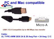 USB Micro A Cable USB2.0 A Male to Micro A USB2.0 Male Cable Vaster SKU  20770 1 M