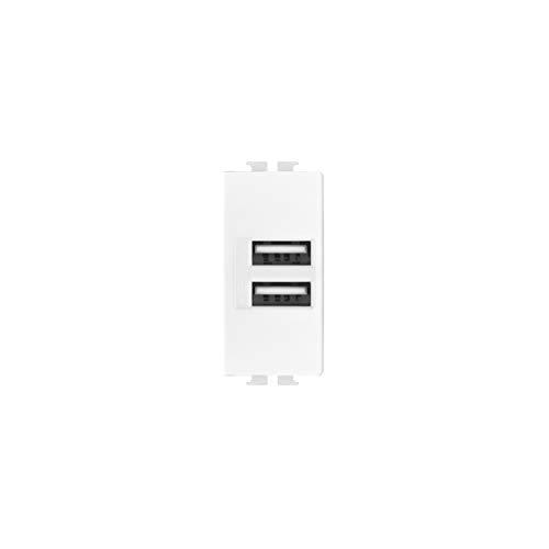 LineteckLED - LNT521B- Serie Completa Materiale Elettrico Fai da te- Presa USB Bianca Input 90-265V 50/60Hz 0.4A - Output 5V 2A Due Uscite Compatibile matix