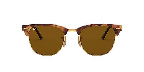 Ray-Ban Unisex Clubmaster Sonnenbrille, Mehrfarbig (Gestell: braun/schwarz(Havana,Tortoise) Glas: braun 1160), Small (Herstellergröße: 51)