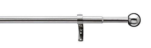 tilldekor ausziehbare Gardinenstange FORMENTOR, Edelstahl Optik, Ø 13/16 mm, 1-Lauf, 180-300 cm, Komplettset