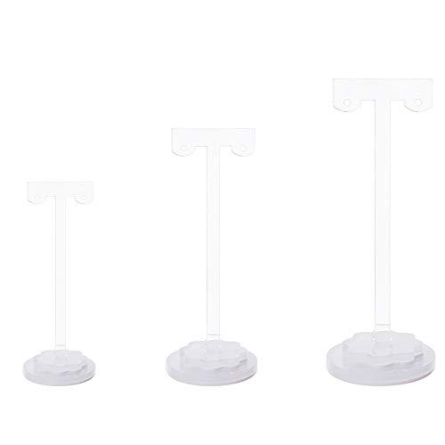 FINGERINSPIRE - Soporte para Pendientes en Forma de T, 3 Piezas, Soporte de acrílico para árbol de joyería Organizador de Joyas para Colgar, para Collares, Pulsera, Pendientes y Anillo