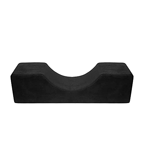 Yokilly Eyelash Extension Pillow, Neck Support PillowU-shape Ergonomic Curve Pillow Makeup Grafting Eyelash Pillow Beauty Flannel Cushion for Salon Home (Black)