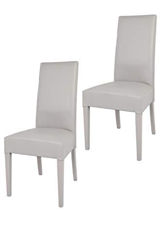 Tommychairs - Set 2 sillas Luisa para Cocina, Comedor, Bar y Restaurante, solida Estructura en Madera de Haya y Asiento tapizado en Polipiel Gris Claro