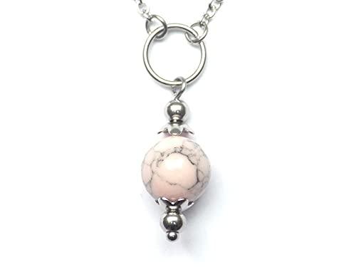 Gargantilla para mujer en acero inoxidable con anillos y cuentas de turquesa reconstituidas rosa