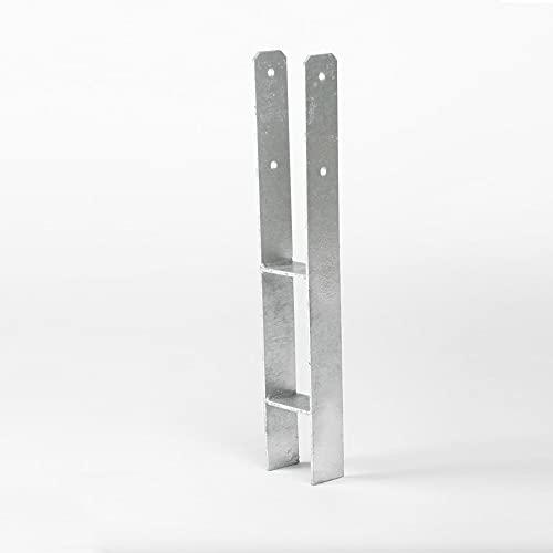 H-Anker 600x121x6 mm für Pfosten 12x12 cm Pfostenträger von Gartenpirat®