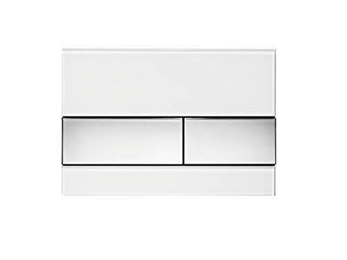 Tece 9.240.802 Square Betätigungsplatte für WC (Glas weiß, Tasten Chrom glänzend, Zweimengentechnik, bedienbar von Oben und vorne) 9240802