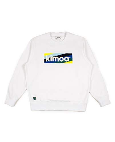 Kimoa Striped Logo Sudadera, Unisex, Blanco, XL