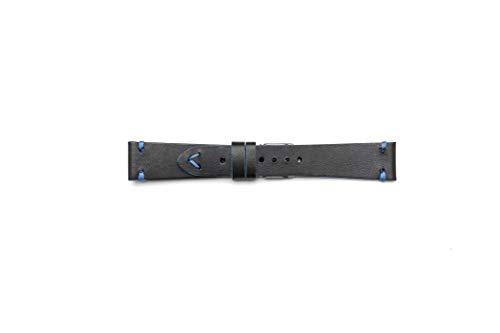 Cinturino Vintage in Cuoio con Profilo Blu (22-18, Nero)