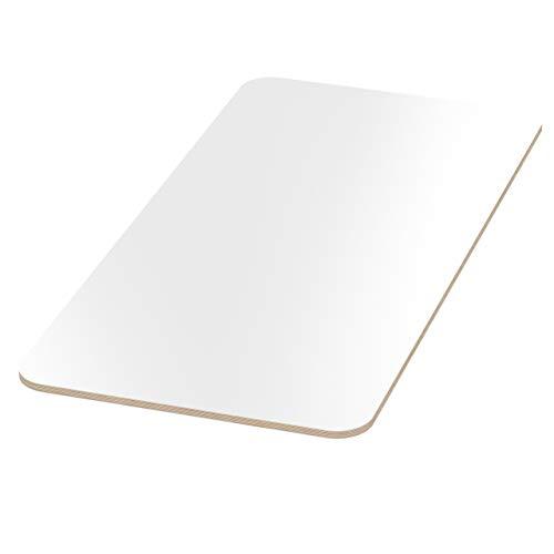 AUPROTEC Tischplatte 18mm weiß 1800 mm x 800 mm rechteckige Multiplexplatte melaminbeschichtet von 40cm-200cm auswählbar Ecken Radius 100mm Birken-Sperrholzplatten Auswahl: 180x80 cm