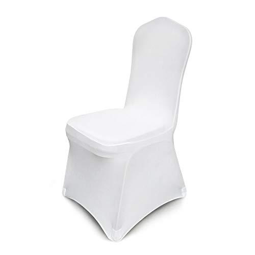 Ukiki Housse de Siège avec Sac à Dos 50 Pièces Stretch Chair Cover Vestisedia Moderne Décoratif Blanc Protection Chaises Cover de Maison Cuisine et Jardin Blanc