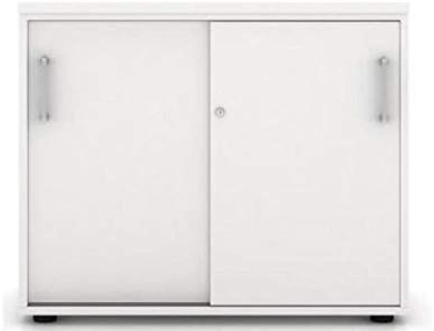 Litewall - Sliding Door Storage Credenza Unit White