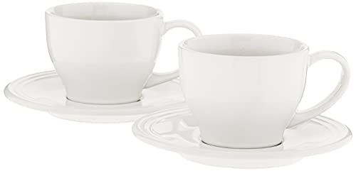 Le Creuset Stoneware Set of 2 Cappuccino Cups and Saucers , 7 oz. each, White