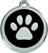 Hundemarke RedDingo Pfote schwarz M 30mm inkl. Wunschgravur