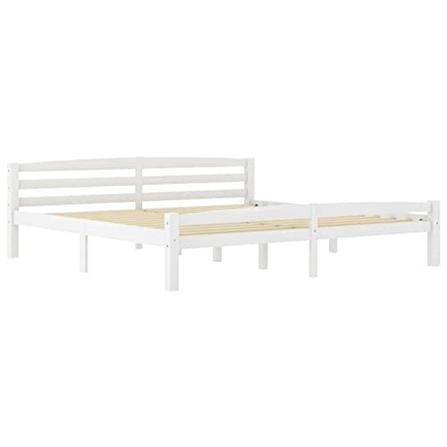 Tidyard Estructura de Cama de Madera Maciza de Pino Blanca 200x200 cm (colchón no Incluido) Marco de la Cama