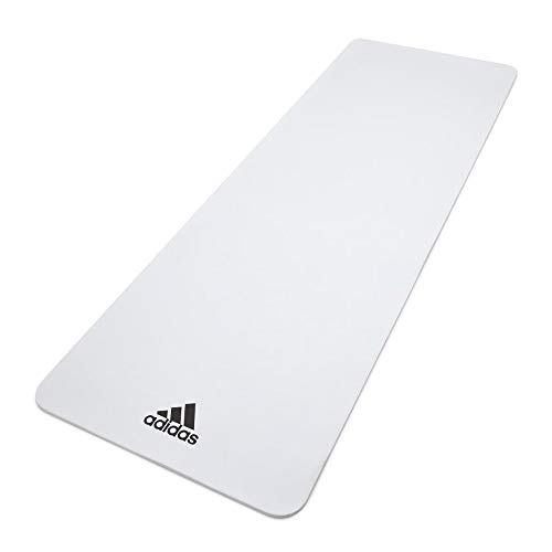 Adidas ADYG-10100WH Universal Exercise Roll Up Slip Resistant Fitness Pilates and Yoga Mat, 8mm Thick, White