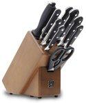 Wüsthof Messerblock 9-teilig, Classic (9843), Holz-Block (braune Esche) mit 6 Kochmessern, Fleischgabel, Wetzstahl, Schere, top Kochmesser-Set