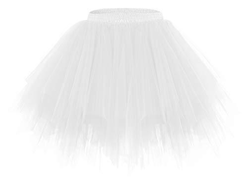 bridesmay Tutu Damenrock Tüllrock 50er Kurz Ballet Tanzkleid Unterkleid Cosplay Crinoline Petticoat für Rockabilly Kleid White M