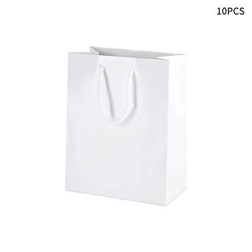 gshhd0 10 stuks wit kartonnen papieren cadeauzakjes hoeveelheid met handgrepen, perfect voor winkelen, verpakking, verkoop per stuk, party, handwerk, geschenken, bruiloft, gerecycled, zakelijk- en commerciële goederen tas