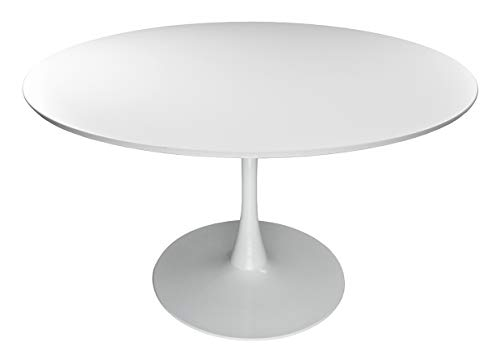 Tavolo tulip rotondo Ø120 cm, tavolo da pranzo tondo bianco mod. Omar