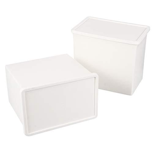 Cabilock 2 Piezas Caja de Almacenamiento Pequeña Pila de Plástico Y Cubo de Almacenamiento Apilable Contenedores de Almacenamiento Diversos Organizador con Tapas para Dormitorio de Cocina