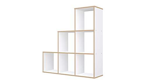 Polini Home Treppenregal Stufenregal Raumteiler 6 Fächer weiß-holzoptik