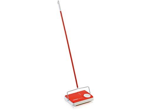 Leifheit Teppichkehrer Regulus Rot für die schnelle Reinigung, Teppichreinigung verschiedener Teppicharten, Teppichkehrer ohne Strom mit 3 Kehrbürsten
