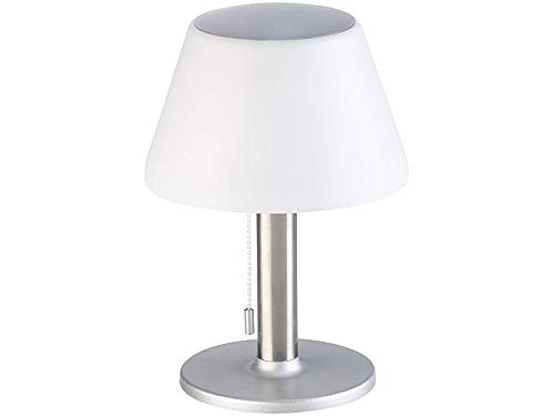 Luminea LED Solar Tischlampe: Dimmbare Solar-LED-Tischleuchte mit 150 Lumen, 5 Watt, Ø 20 cm, IP44 (Schreibtischlampen)