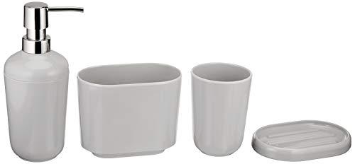 Amazon Basics 4 pezzi - Set di accessori da bagno - Grigio (Smooth Grey)