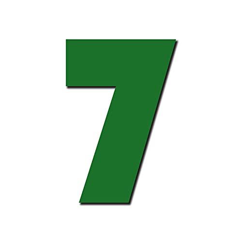 Freischwebende designer Hausnummer 'Bauhaus' 7 | 3 Größen (15cm, 20cm, 25cm) | inkl. Befestigungsmaterial & Montageanleitung | Jugendstil, Farbe:Dunkel Grün, Größe:25cm / 9.8' / 250mm
