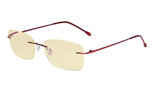Eyekepper Computerbril vrouwen blauw licht blokkering lezer met gele filter lens lichtgewicht randloos lezen bril ohne kraft Rot-bb60 lens
