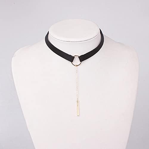 FGFDHJ Collar de Gargantilla Negro Collar de gargantillas de Barra de Cadena de Oro para Mujer Collares