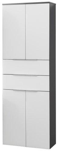 FACKELMANN Doppel-Hochschrank KARA / Badschrank mit Soft-Close-System / Maße (B x H x T): ca. 61 x 176 x 32 cm / hochwertiger Schrank fürs Bad / Möbelstück mit Schubladen und Türen / Korpus: Anthrazit / Front: lackiertes Glas in Weiß