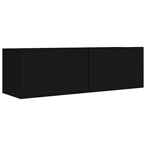 Festnight Mueble para TV de Aglomerado Mesa Flotante para TV Mueble para TV de Pared Negro Brillante 100x30x30 cm