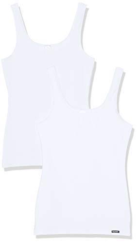Skiny Damen Advantage Cotton Tank Top 2er Pack Unterhemd, Weiß (White 0500), 38