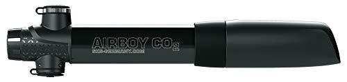 SKS GERMANY AIRBOY CO2 Kartuschenpumpe geeignet für jedes Fahrrad (Kunststoff / Aluminium, Ventil: AV, SV, DV, Druck max.: 5 bar / 73 PSI, inkl. Kartusche und Pumpenhalter), Schwarz
