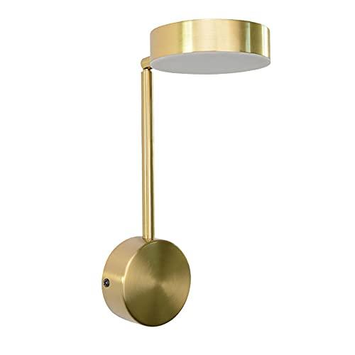 9W LED Lámpara de Pared Interior Moderna, Luz de la Mesilla de Noche Dorada Aplique de Pared de Lectura 350° Ajustable Iluminación para Dormitorio Cabecera Sala de Estar Oficina,Cool white 6000k