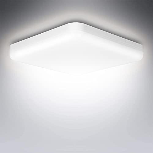 LED Lámpara de Techo 6500K,20W Plafón Led de Techo 1600LM,Plafón LED Cuadrado IP56 Impermeable para Baño,Moderna Delgada Para Baño Cocina Sala de Estar Dormitorio Pasillo Habitacion Comedor Balcón