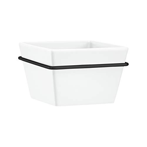 Amazon Basics - Macetero de pared, cuadrado, blanco/negro