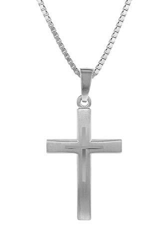 trendor Kreuz mit Kinder-Halskette Silber 925 Kinder Halskette Silber, Halskette für Mädchen und Jungen, Silberkette mit Kreuz, Kreuzkette Silber Kids 79602