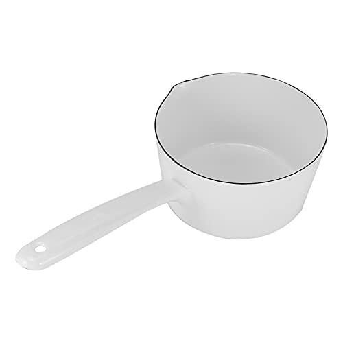 CKMSYUDG 1,3 l in ceramica bianca in stile giapponese pentola da cucina pentola pentola per alimenti per bambini con manico lungo per una persona